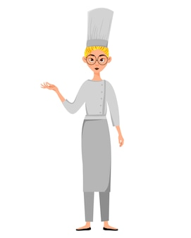 Conjunto de personagens femininos. cozinheiro mulher aponta para a mão para o lado.