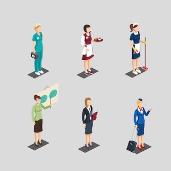 Conjunto de personagens femininos de profissão isométrica