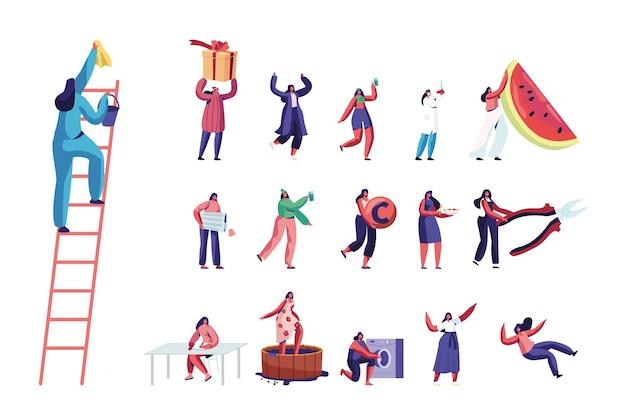 Conjunto de personagens femininos, serviço de limpeza, enfermeira, estudante. mulheres pequenas com uma enorme fatia de melancia, traje de patricks day, fazendo vinho isolado no fundo branco. ilustração em vetor desenho animado