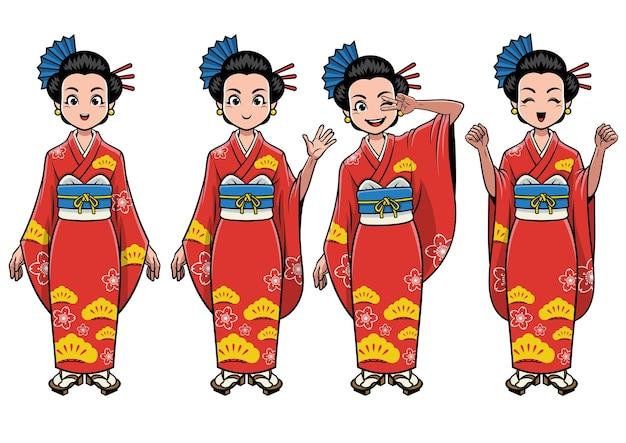 Conjunto de personagens femininos tradicionais do japão