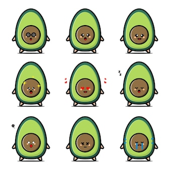Conjunto de personagens fofinhos de abacate em emoção diferente