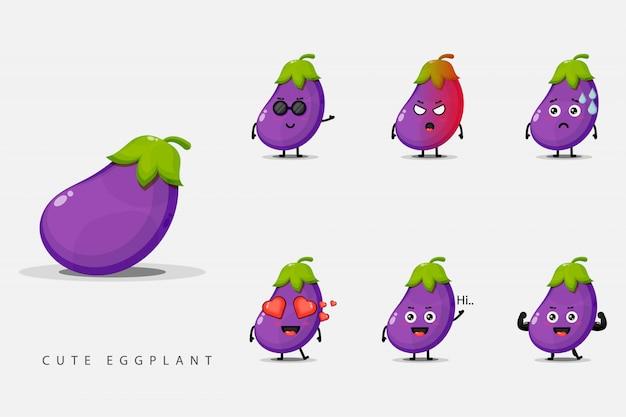 Conjunto de personagens fofinhos de berinjela