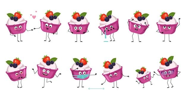 Conjunto de personagens fofinhos de bolo ou iogurte com emoções, rosto, mãos