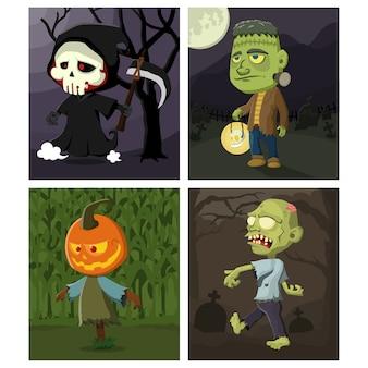 Conjunto de personagens fofinhos de halloween com ilustração de fundo do tema de halloween