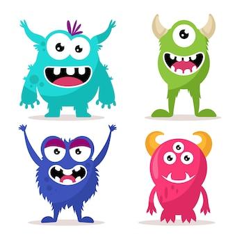 Conjunto de personagens fofinhos de monstros