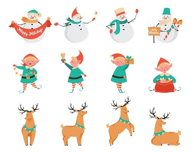 Conjunto de personagens fofinhos de natal. celebrando um conjunto de férias. boneco de neve, duende de natal e veado-chuva de papai noel. personagens tradicionais de celebração de natal. ilustração plana