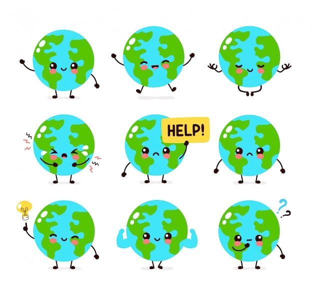 Conjunto de personagens fofinhos do planeta terra