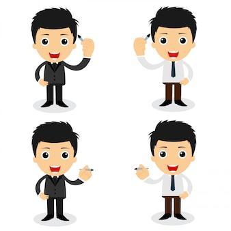 Conjunto de personagens fofinhos empresário e trabalhador de escritório poses em vários