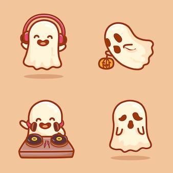 Conjunto de personagens fofinhos fantasmas, voando, usando fone de ouvido, jogando disco jokey e assombrando. vetor de desenho animado