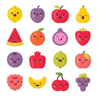 Conjunto de personagens fofinhos sorrindo frutas