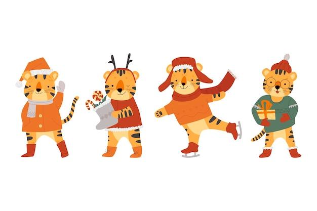 Conjunto de personagens fofinhos tigres, o símbolo do vetor de 2022