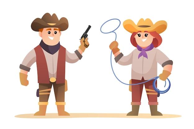 Conjunto de personagens fofos de cowboy e cowgirl