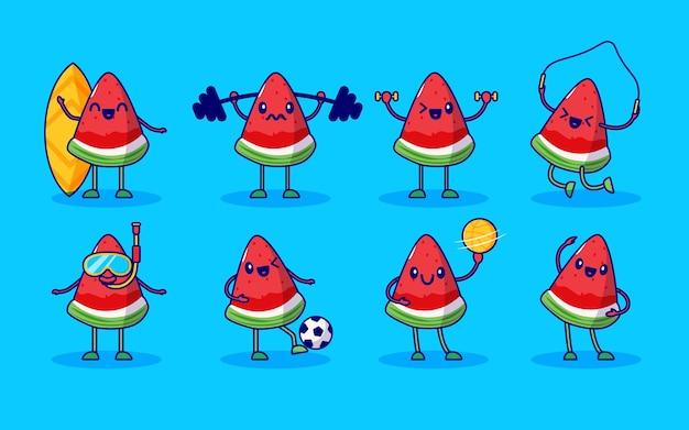 Conjunto de personagens fofos de fruta melancia