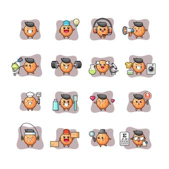 Conjunto de personagens fofos e kawaii de basquete