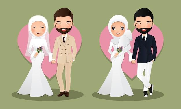 Conjunto de personagens fofos muçulmanos noivos. cartão de convites de casamento. ilustração em desenho de casal apaixonado