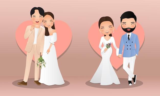 Conjunto de personagens fofos noiva e noivo. cartão de convites de casamento.