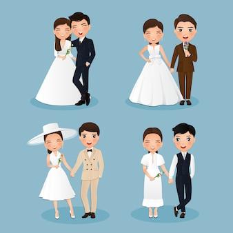 Conjunto de personagens fofos noiva e noivo. desenho de casal de noivos apaixonados