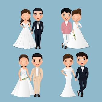 Conjunto de personagens fofos noiva e noivo.