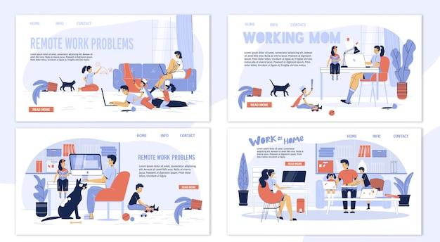 Conjunto de personagens freelancer para família - vantagens e desvantagens do trabalho online.
