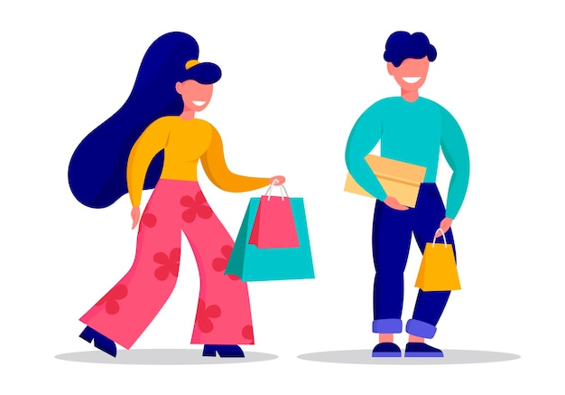 Conjunto de personagens, homem e mulher, pessoas comprando ilustração vetorial de design plano