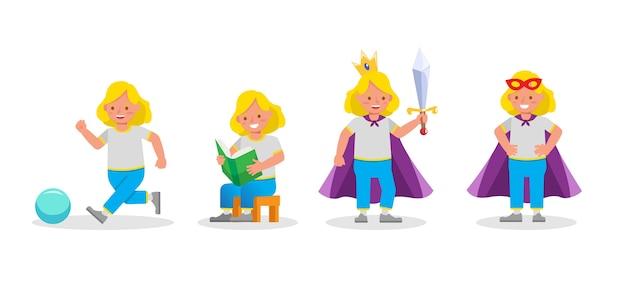 Conjunto de personagens infantis em várias ações