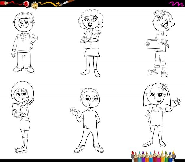 Conjunto de personagens infantis ou adolescentes livro para colorir