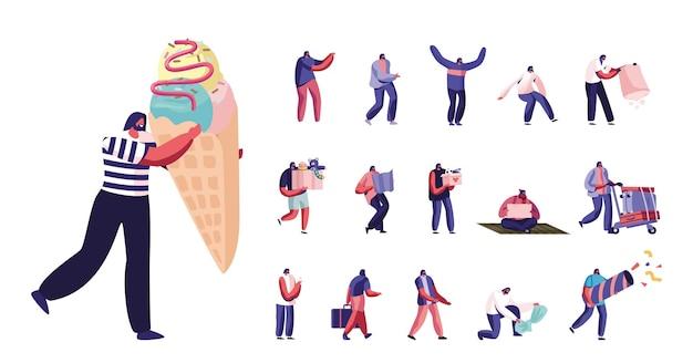 Conjunto de personagens masculinos carregam caixa com brinquedos, implorando dinheiro na rua, viagem com bagagem, minúsculo homem carrega um enorme sorvete