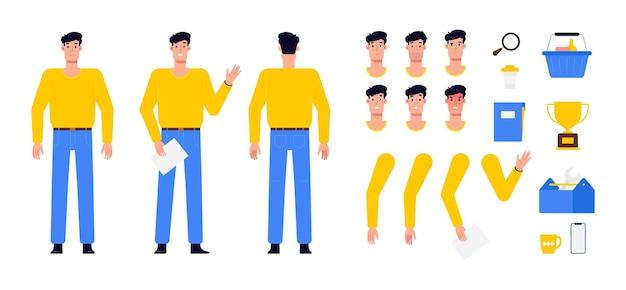Conjunto de personagens masculinos com as partes do corpo separadas, pernas, braços, cabeças e caixa com ferramentas profissionais