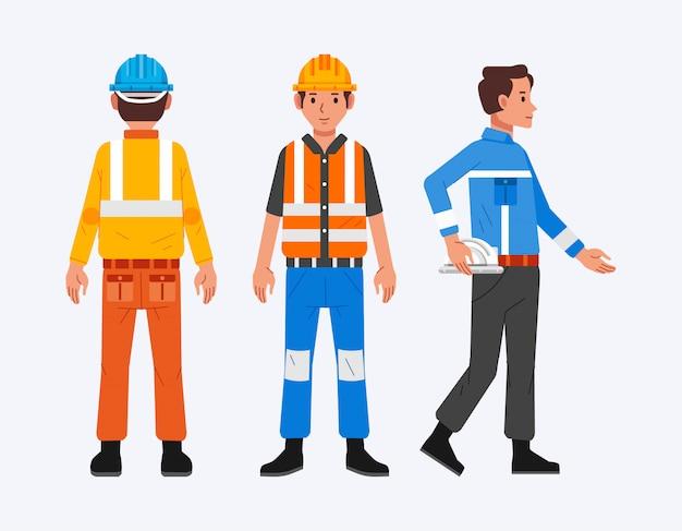 Conjunto de personagens masculinos do trabalhador da construção civil com vários lados e uniformes diferentes