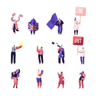 Conjunto de personagens masculinos e femininos, apoiadores do brexit e do anti brexit em demonstração