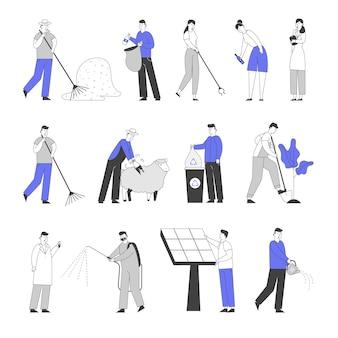 Conjunto de personagens masculinos e femininos, coleta de lixo na rua. fazendeiro ajuntando feno, aparando ovelhas e plantando árvores.