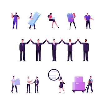 Conjunto de personagens masculinos e femininos com elementos de entrega em branco
