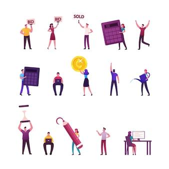 Conjunto de personagens masculinos e femininos com seus instrumentos de trabalho