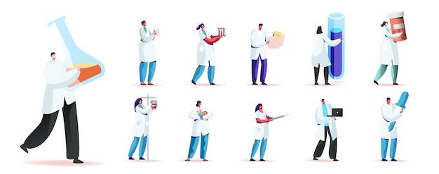 Conjunto de personagens masculinos e femininos com túnica médica segurando coisas de médico