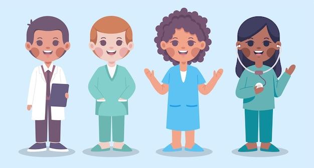 Conjunto de personagens masculinos e femininos da equipe médica