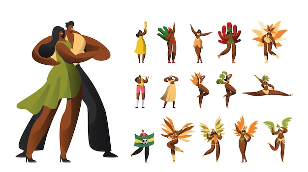 Conjunto de personagens masculinos e femininos do carnaval brasileiro em trajes, mulheres latinas em vestido de biquíni de pena dança no festival