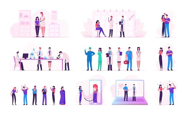 Conjunto de personagens masculinos e femininos durante o auto-isolamento da pandemia de covid19 e da quarentena de coronavirus.
