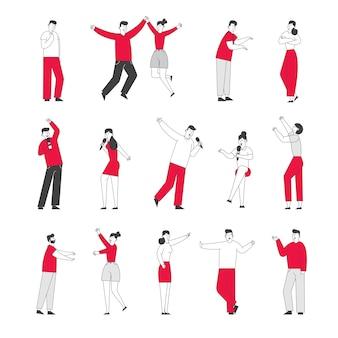 Conjunto de personagens masculinos e femininos em posturas diferentes