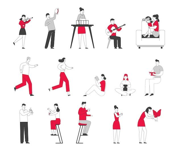 Conjunto de personagens masculinos e femininos engajados em atividades esportivas