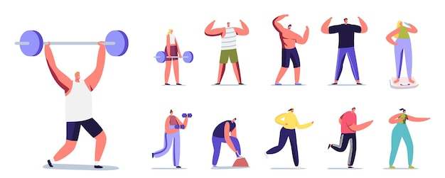 Conjunto de personagens masculinos e femininos fazendo esporte. homens ou mulheres exercitando com barra, correr, posar, mostrar o corpo perfeito e pesar em escalas isoladas no fundo branco. ilustração em vetor desenho animado