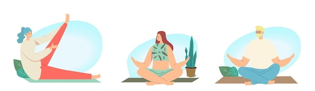 Conjunto de personagens masculinos e femininos, ioga, atividades esportivas e meditação. pessoas fazendo esportes, exercícios, fitness, treino em diferentes poses, alongamento, estilo de vida saudável. ilustração em vetor de desenho animado