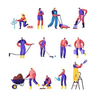 Conjunto de personagens masculinos e femininos, jardineiros, cultivo e cuidado de plantas, jardinagem, pessoas regando, plantando