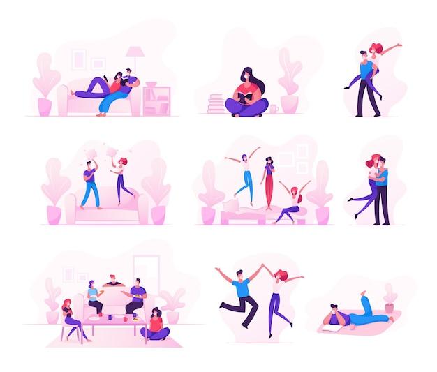 Conjunto de personagens masculinos e femininos, passando o tempo durante a quarentena covid 19 auto-isolamento, ficando em casa.