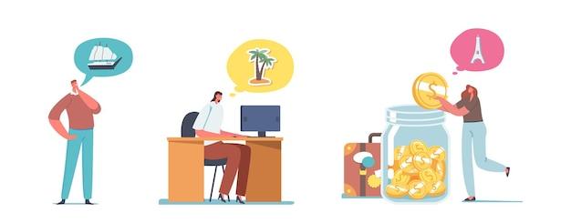 Conjunto de personagens masculinos e femininos sonham em viajar. as pessoas coletam dinheiro, colocam moedas em uma enorme jarra de vidro, imaginam a viagem e planejam o orçamento isolado no fundo branco. ilustração em vetor de desenho animado