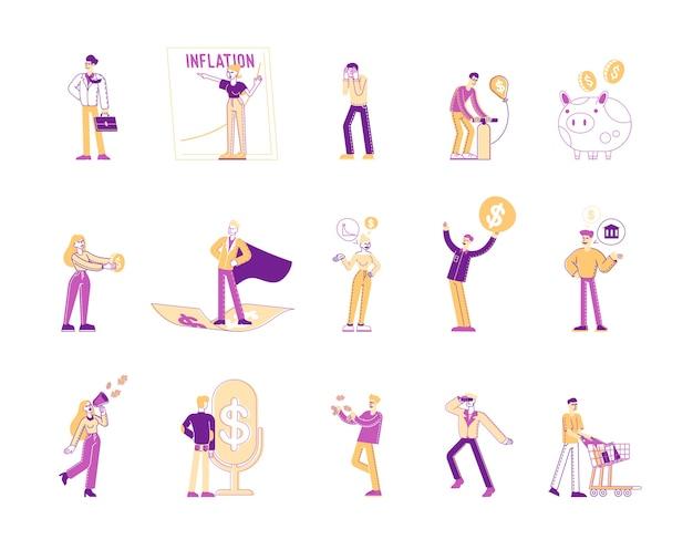 Conjunto de personagens masculinos e femininos usando dinheiro