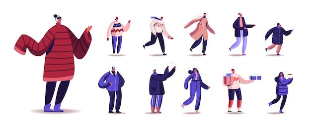 Conjunto de personagens masculinos e femininos vestindo roupas quentes