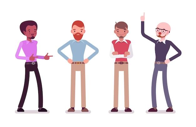 Conjunto de personagens masculinos em um casual wear