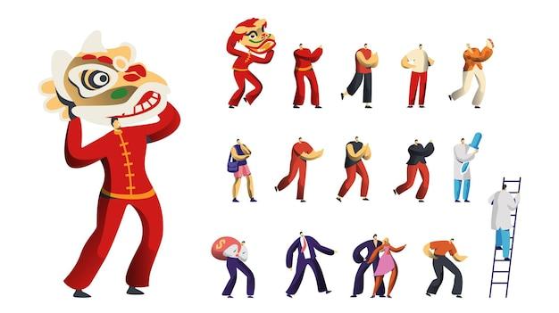 Conjunto de personagens masculinos, leão dançante chinês tradicional, homens tocando pandeireta, médico ou enfermeira com pipeta