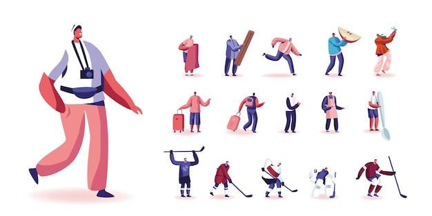 Conjunto de personagens masculinos para turistas com câmera fotográfica, mochila e bagagem, jogadores de hóquei em uniforme, homem minúsculo com uma enorme maçã