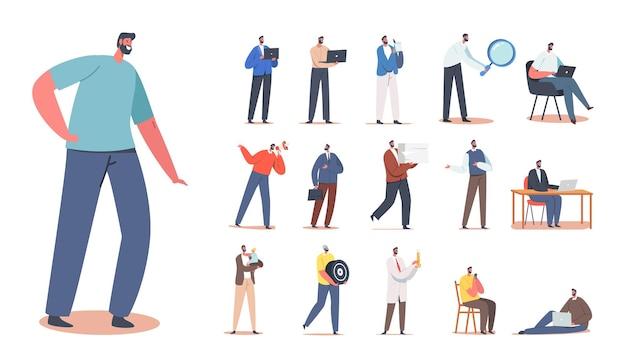 Conjunto de personagens masculinos, trabalhador com capacete, escriturário com documentos em papel, pai com filho, promotor com alto-falante, colarinho